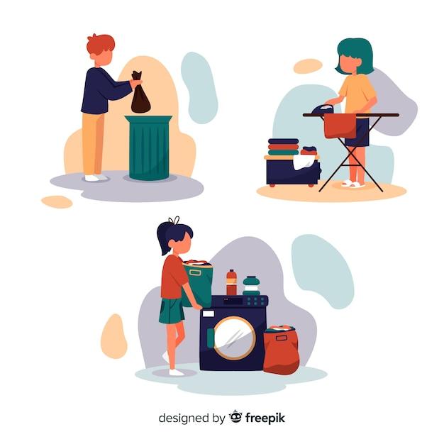 Minimalistische karakters doen huishoudelijk werkpakket Gratis Vector