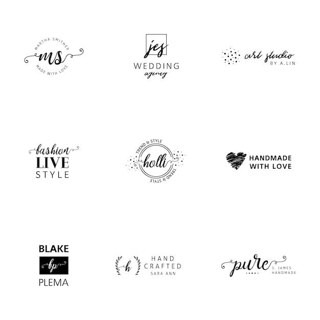 Minimalistische logo templates-collectie Gratis Vector