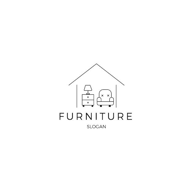 Minimalistische meubels huisstijl logo sjabloon Gratis Vector
