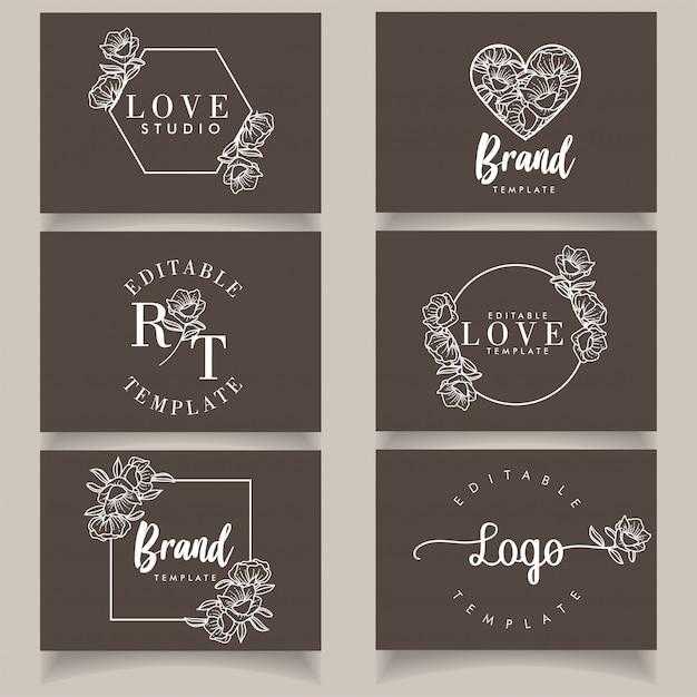Minimalistische moderne logo vrouwelijke botanische sjabloon set Premium Vector