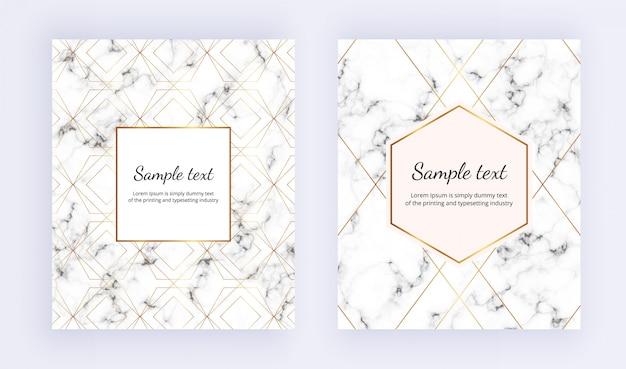 Minimalistische plakkaat, wit marmeren textuur met gouden lijn en frame instellen Premium Vector