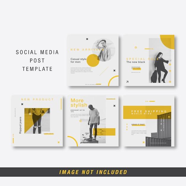 Minimalistische postsjabloon op sociale media Premium Vector