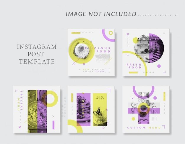 Minimalistische sociale media instagram postsjabloon voor eten & culinair Premium Vector