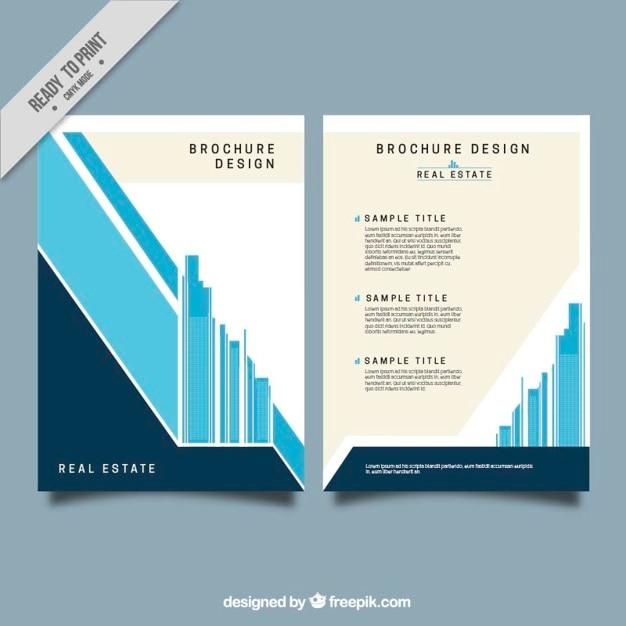 Minimalistische vastgoed brochure in plat design Gratis Vector