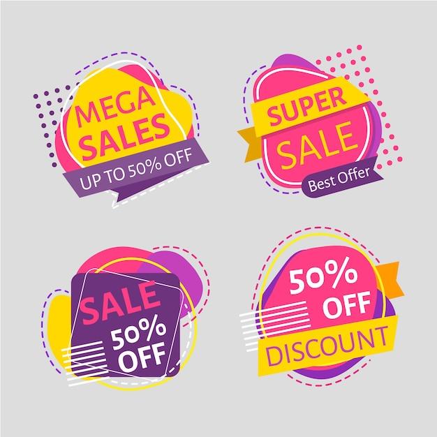 Minimalistische verkoopbevorderingsetiketten Gratis Vector