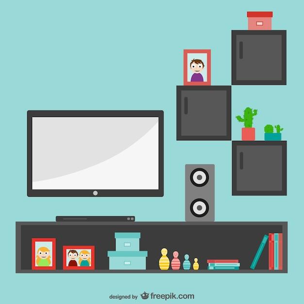 Minimalistische woonkamer met tv Vector   Gratis Download