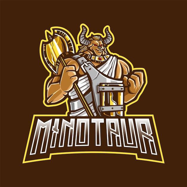 Minotaur mascot-logo voor esport en sport Premium Vector