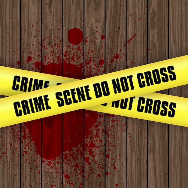 Misdaad scene achtergrond met bloed splatter op hout met gele waarschuwing tape Gratis Vector