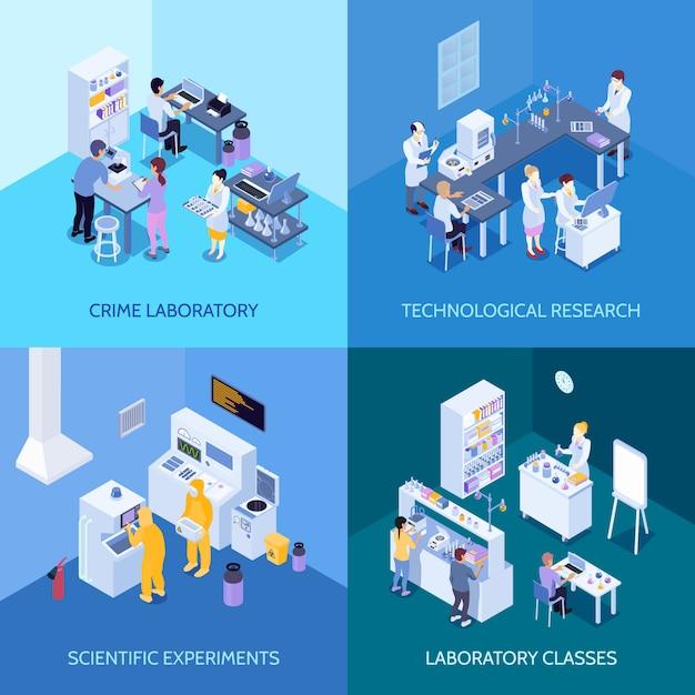 Misdaadlaboratorium, chemische praktijkklassen, wetenschappelijke experimenten en technologisch onderzoek isometrisch geïsoleerd ontwerpconcept Gratis Vector