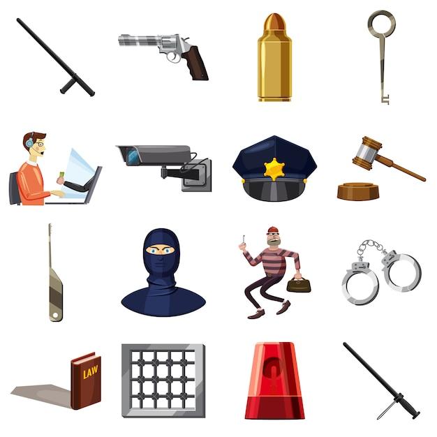 Misdadige geplaatste symbolenpictogrammen, beeldverhaalstijl Premium Vector