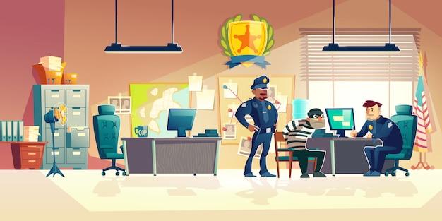 Misdadige ondervraging in de illustratie van het politiebeeldverhaal Gratis Vector