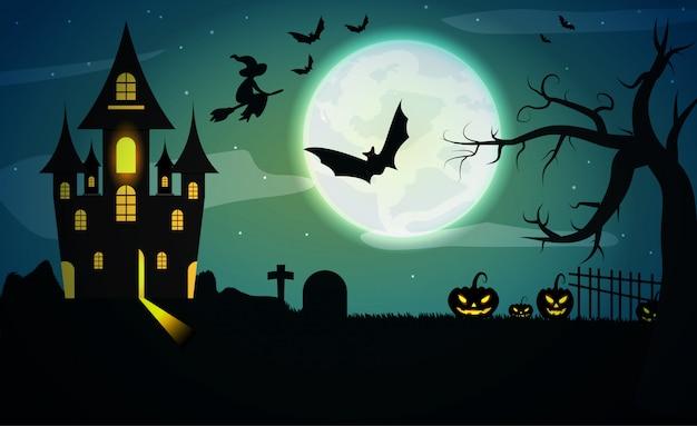 Mistig landschap met vleermuizen, grote maan, pompoenen, bomen en donkere kasteelachtergrond Premium Vector