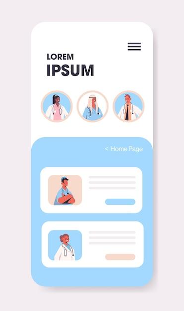 Mix race artsen raadplegen patiënt in mobiele chat-app online consult gezondheidszorg geneeskunde medisch advies Premium Vector