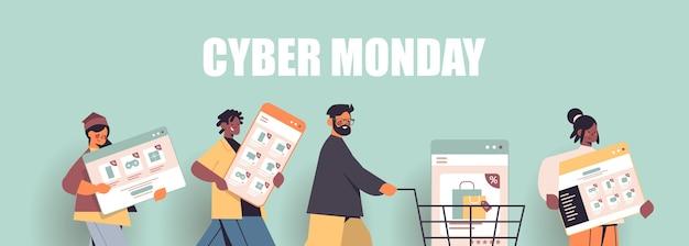 Mix race mensen lopen met digitale apparaten cyber maandag grote verkoop promotie korting online winkelen concept portret Premium Vector