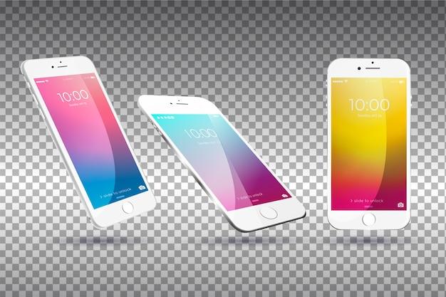 Mobiel apparaat in verschillende weergaven Premium Vector