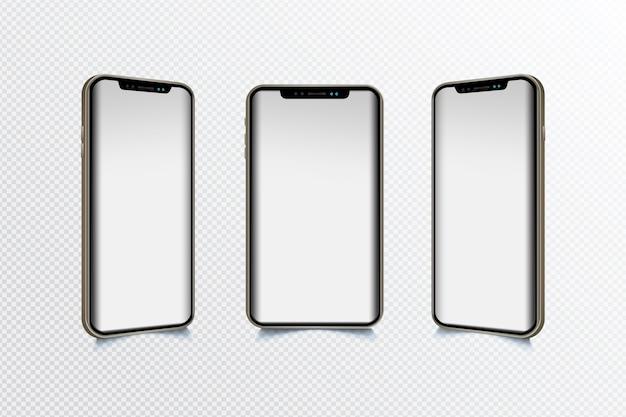 Mobiel apparaat in verschillende weergaven Gratis Vector