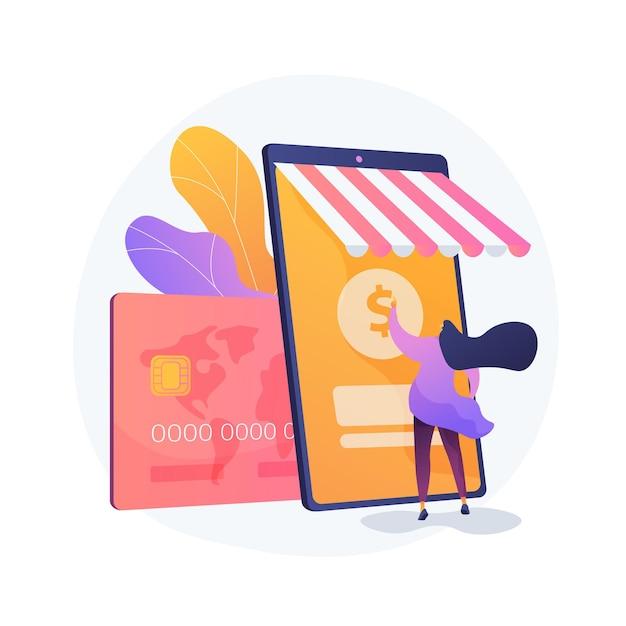 Mobiel bankieren, e-bankieren app. digitale portemonnee, online betalingssysteem, bankapplicatie. moderne financiële diensten, e-betalingsidee ontwerpelement. Gratis Vector