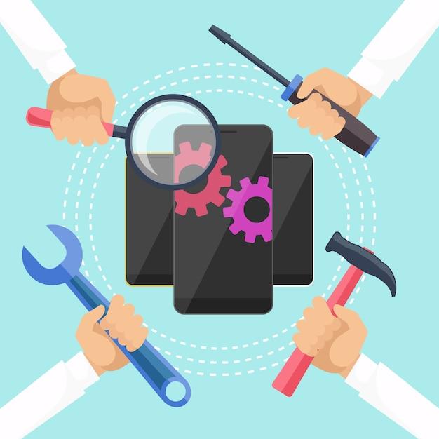Mobiel dienstverleningsconcept Premium Vector