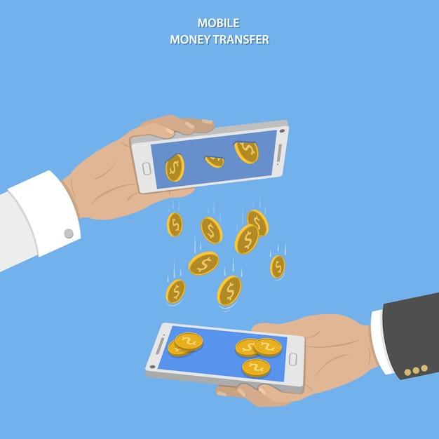Mobiel geld overdracht concept. Premium Vector