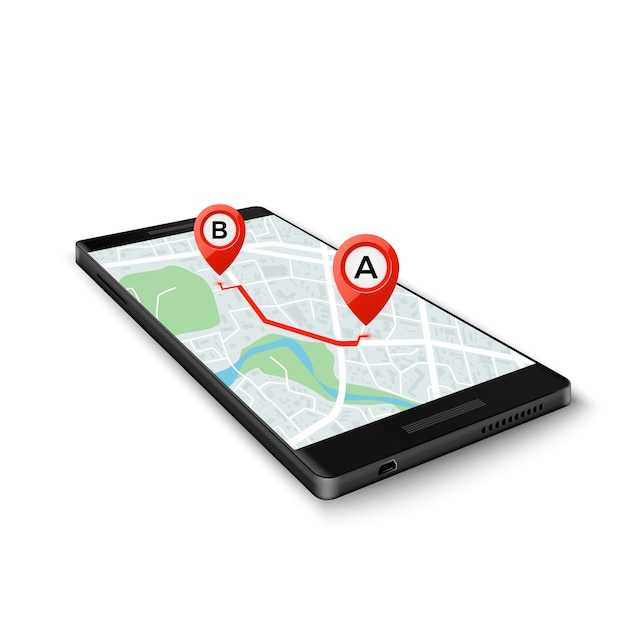 Mobiel gps-systeemconcept. mobiele gps-app-interface. kaart op telefoonscherm met routemarkeringen. Premium Vector