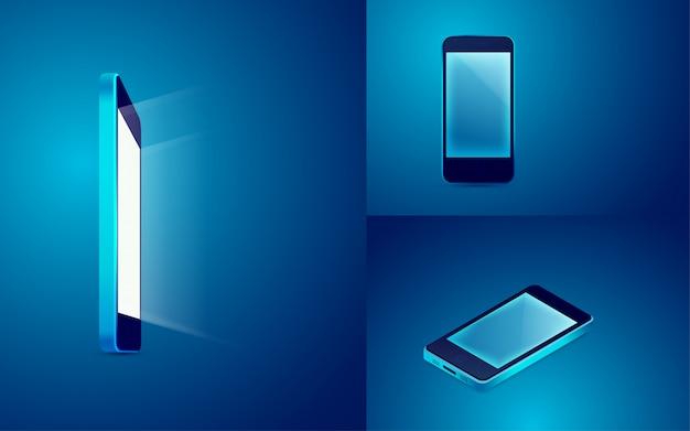 Mobiel in blauw Premium Vector