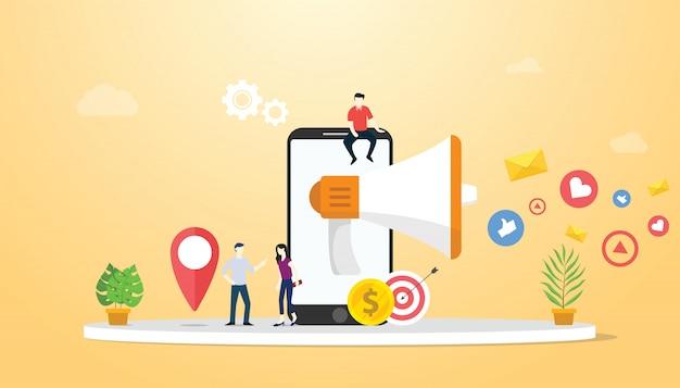 Mobiel marketingconcept met smartphone en sociale media Premium Vector