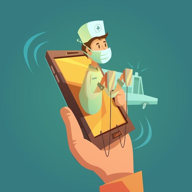 Mobiel online dokter concept Gratis Vector