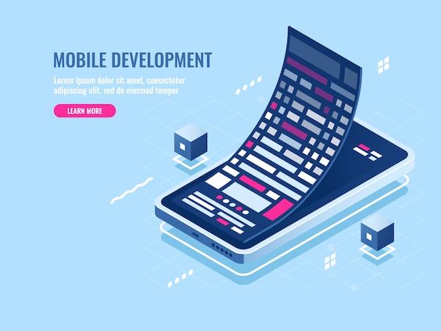 Mobiel ontwikkelingsconcept, message roll, softwareprogrammering voor mobiele telefoon Gratis Vector