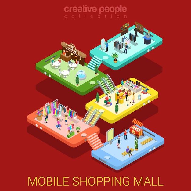 Mobiel winkelcentrum plat isometrisch Gratis Vector