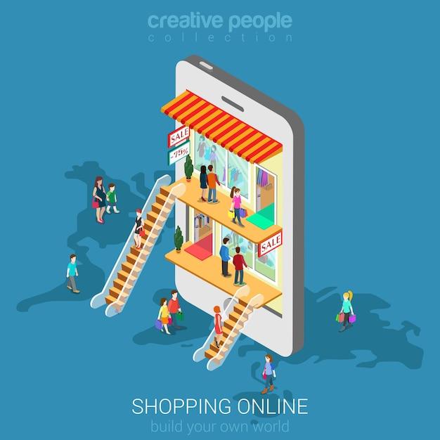 Mobiel winkelen e-commerce online winkelconcept. mensen lopen in winkelcentrum binnen isometrische smartphone. Gratis Vector