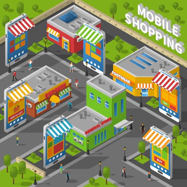 Mobiel winkelen isometrisch Gratis Vector