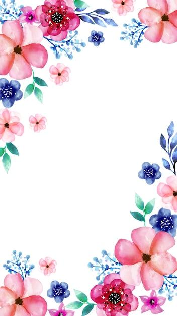 Mobiele achtergrond met waterverfbloemen Gratis Vector