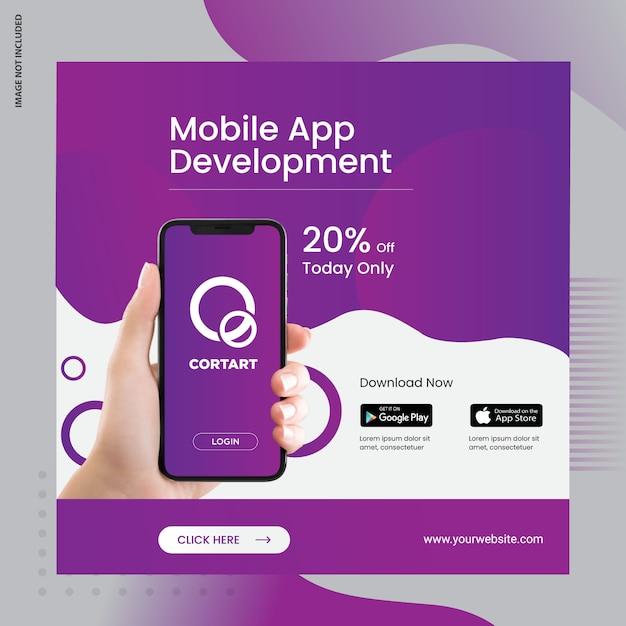 Mobiele app advertentiebanner voor sociale media Premium Vector