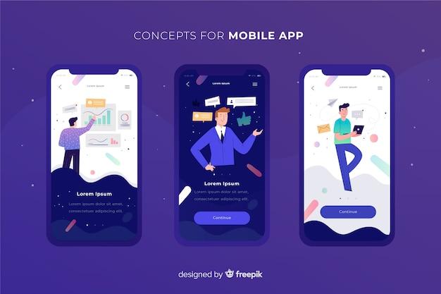 Mobiele app-concept Gratis Vector