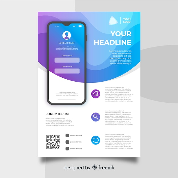 Mobiele app-flyer Gratis Vector