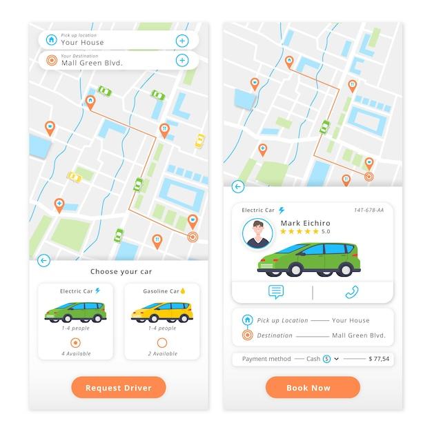 Mobiele app met taxi-bestelapp Gratis Vector