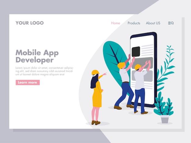 Mobiele app ontwikkeling illustratie Premium Vector