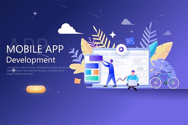 Mobiele app ontwikkeling modern platte ontwerp voor websjabloon, ontwikkelaars werken aan mobiele app ui-ux, software api prototyping en testen cross-platform, smartphone app-gebouw Premium Vector