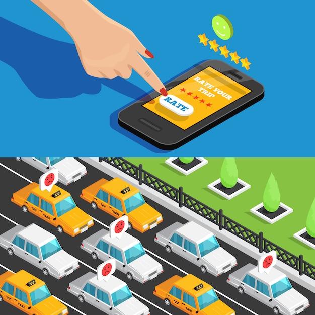 Mobiele app taxi service isometrische banners Gratis Vector