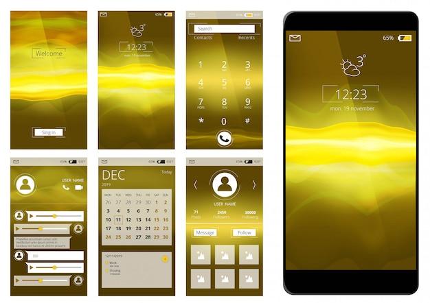 Mobiele app ui. web interface sjabloon voor smartphone internet applicatie illustratie geïsoleerd Premium Vector
