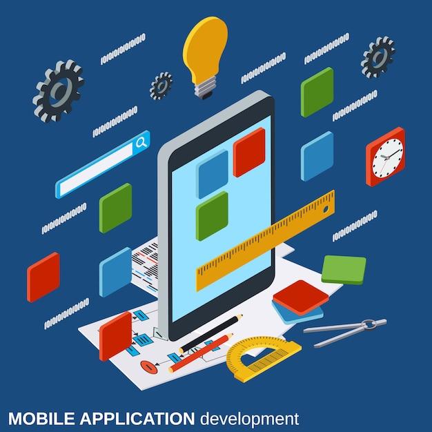 Mobiele applicatie ontwikkeling vector concept Premium Vector