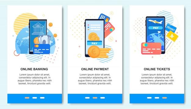Mobiele applicatie voor online betalen, bankieren, Premium Vector