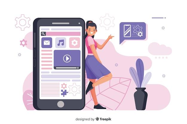 Mobiele apps concept illustratie Gratis Vector