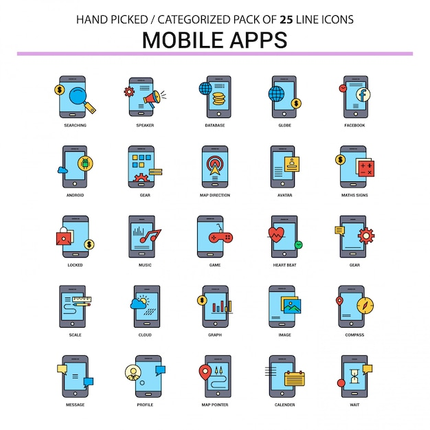Mobiele apps flat line icon set Premium Vector