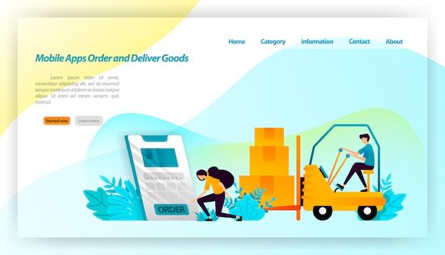 Mobiele apps goederen bestellen en bezorgen. het bestellen van pakketten van de online winkel is af te leveren aan het magazijn en de consument. transportmiddelen. bestemmingspagina websjabloon Premium Vector