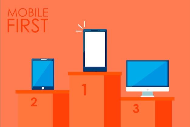 Mobiele banner met eerste strategie. telefoon met laptop en andere. Gratis Vector