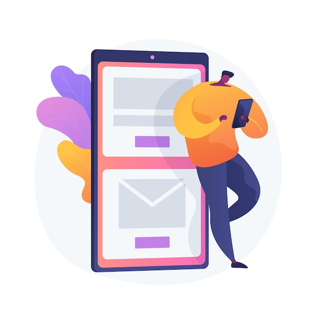 Mobiele berichten. moderne communicatietechnologie, online chatten, sms'en. moderne vrijetijdsbesteding. kerel die e-mailinbox met smartphone controleert. Gratis Vector