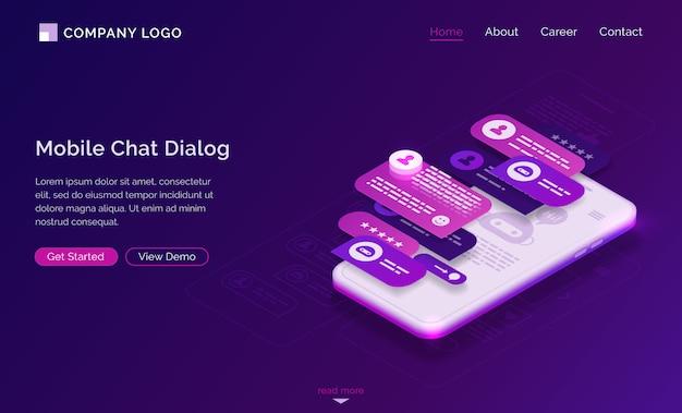 Mobiele chat-dialoog applicatie-interface Gratis Vector