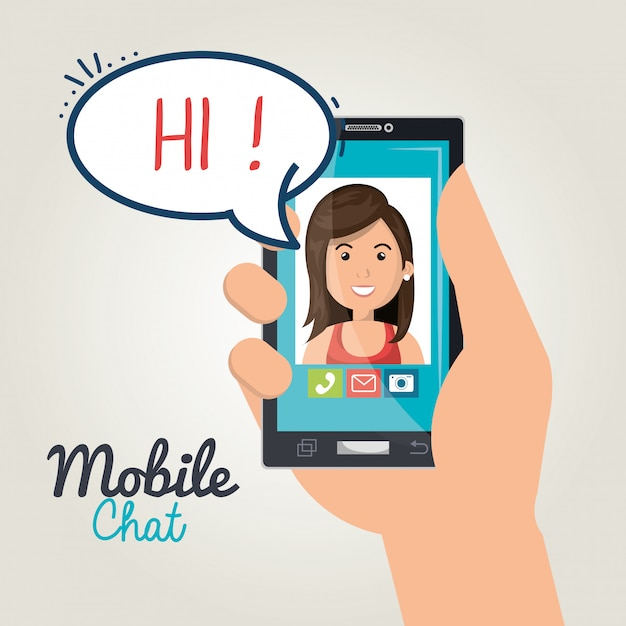 Mobiele chat Gratis Vector