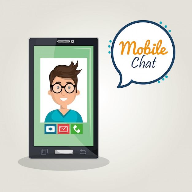 Mobiele chat Gratis Vector